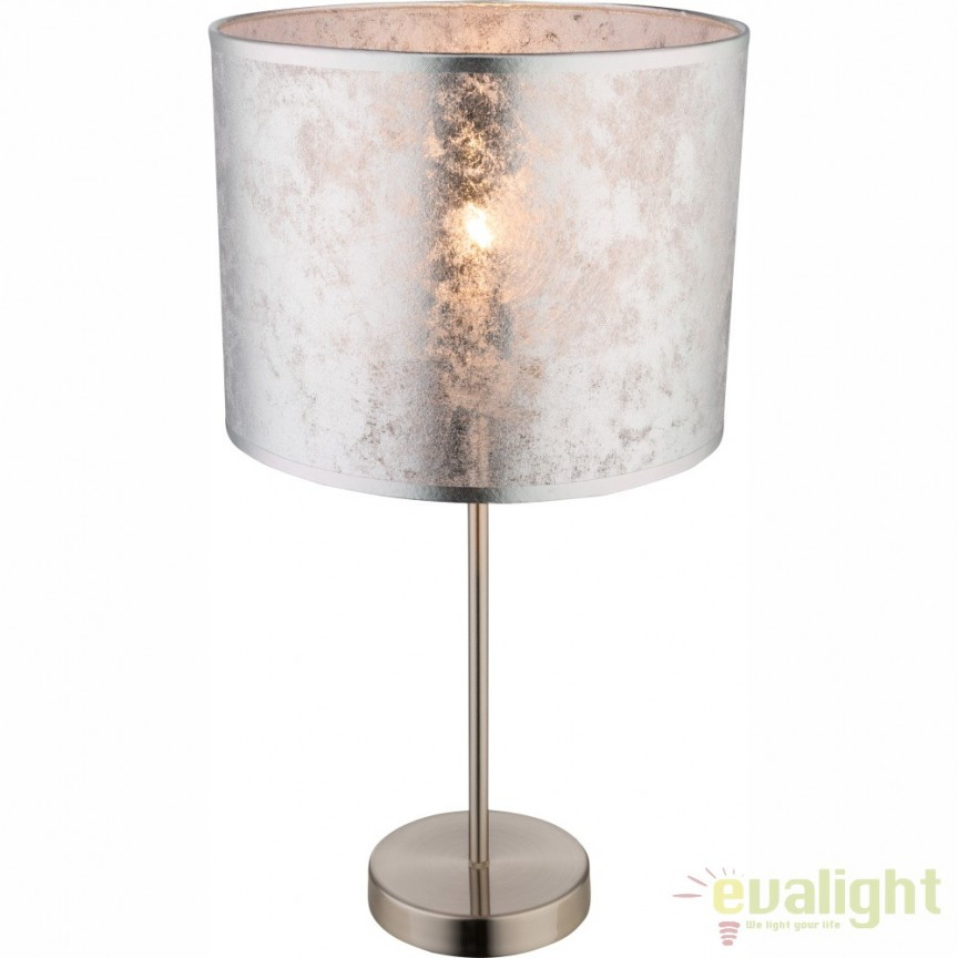 Veioza / Lampa de masa design modern argintie diam: 26cm AMY I 15188T1 GL,  a