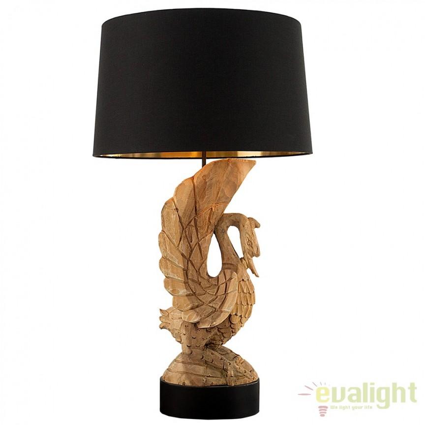 Lampa de masa, lemn masiv de salcam sculptat manual, SWAN A-36691 VC, Veioze, Corpuri de iluminat, lustre, aplice, veioze, lampadare, plafoniere. Mobilier si decoratiuni, oglinzi, scaune, fotolii. Oferte speciale iluminat interior si exterior. Livram in toata tara.  a