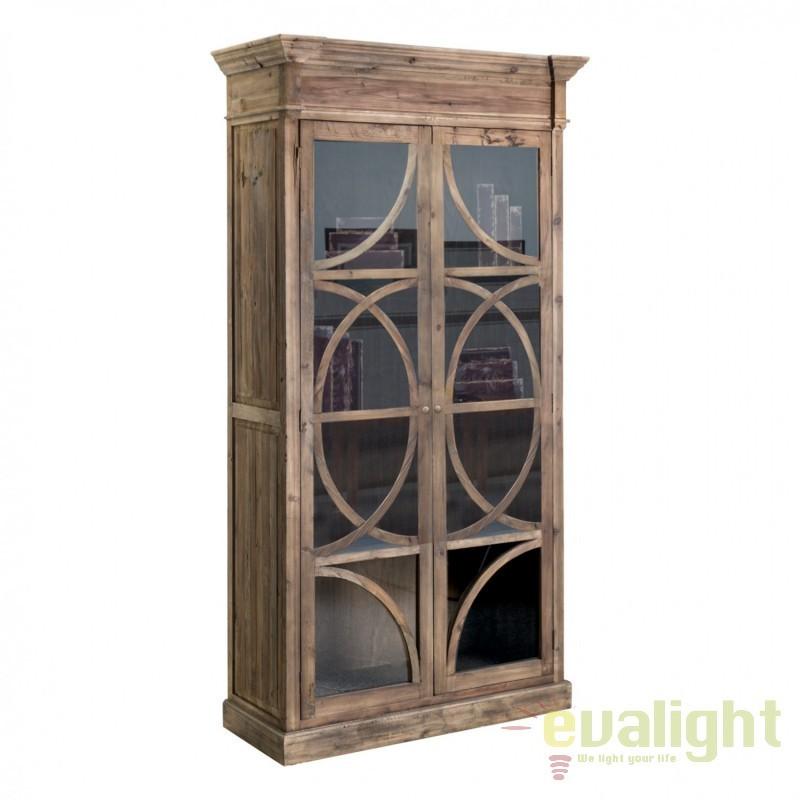 Vitrina design vintage din lemn de pin reciclat VICHY 21387 VH , Vitrine - Rafturi, Corpuri de iluminat, lustre, aplice, veioze, lampadare, plafoniere. Mobilier si decoratiuni, oglinzi, scaune, fotolii. Oferte speciale iluminat interior si exterior. Livram in toata tara.  a