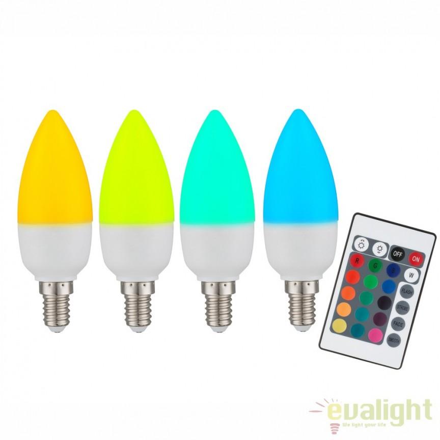 Bec cu telecomanda dimmabil E14 RGB LED candle opal 3,5W, 200Lm 106754 GL, Becuri E14, Corpuri de iluminat, lustre, aplice, veioze, lampadare, plafoniere. Mobilier si decoratiuni, oglinzi, scaune, fotolii. Oferte speciale iluminat interior si exterior. Livram in toata tara.  a