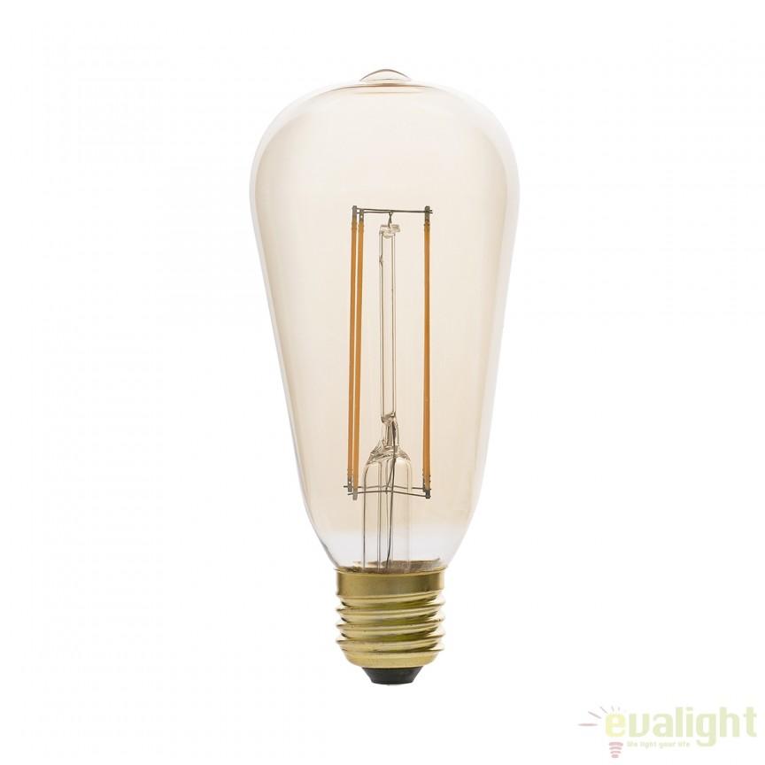 Bec LED decorativ dimabil FILAMENT amber E27 5W 2200K 17433 Faro Barcelona , Becuri E27, Corpuri de iluminat, lustre, aplice, veioze, lampadare, plafoniere. Mobilier si decoratiuni, oglinzi, scaune, fotolii. Oferte speciale iluminat interior si exterior. Livram in toata tara.  a