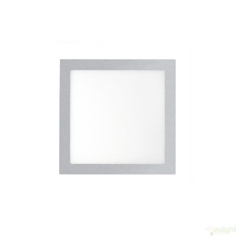 Plafonier, spot gri incastrabil, dim. 12x12cm, 6W cold light, FONT LED 42849 Faro Barcelona , Spoturi LED incastrate, aplicate, Corpuri de iluminat, lustre, aplice a