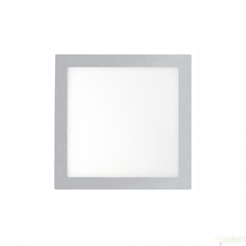 Plafonier, spot gri incastrabil, dim. 17x17cm, 12W cold light, FONT LED 42853 Faro Barcelona , Spoturi incastrate, aplicate - tavan / perete, Corpuri de iluminat, lustre, aplice a