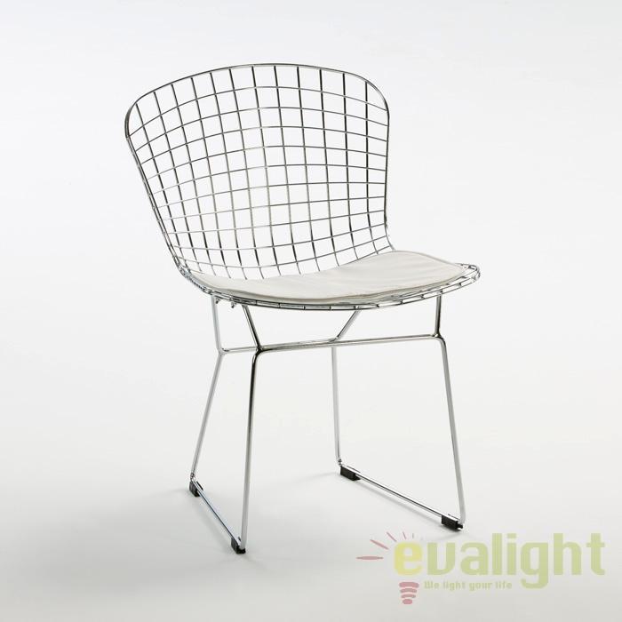 Scaun design elegant finisaj cromat si perna alba Hellen 25616/00 TN, Cele mai noi produse 2017 a