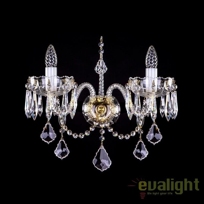 Aplica eleganta cu 2 brate cristal Bohemia MONIQUE II. CE, Aplice Cristal Bohemia, Corpuri de iluminat, lustre, aplice, veioze, lampadare, plafoniere. Mobilier si decoratiuni, oglinzi, scaune, fotolii. Oferte speciale iluminat interior si exterior. Livram in toata tara.  a