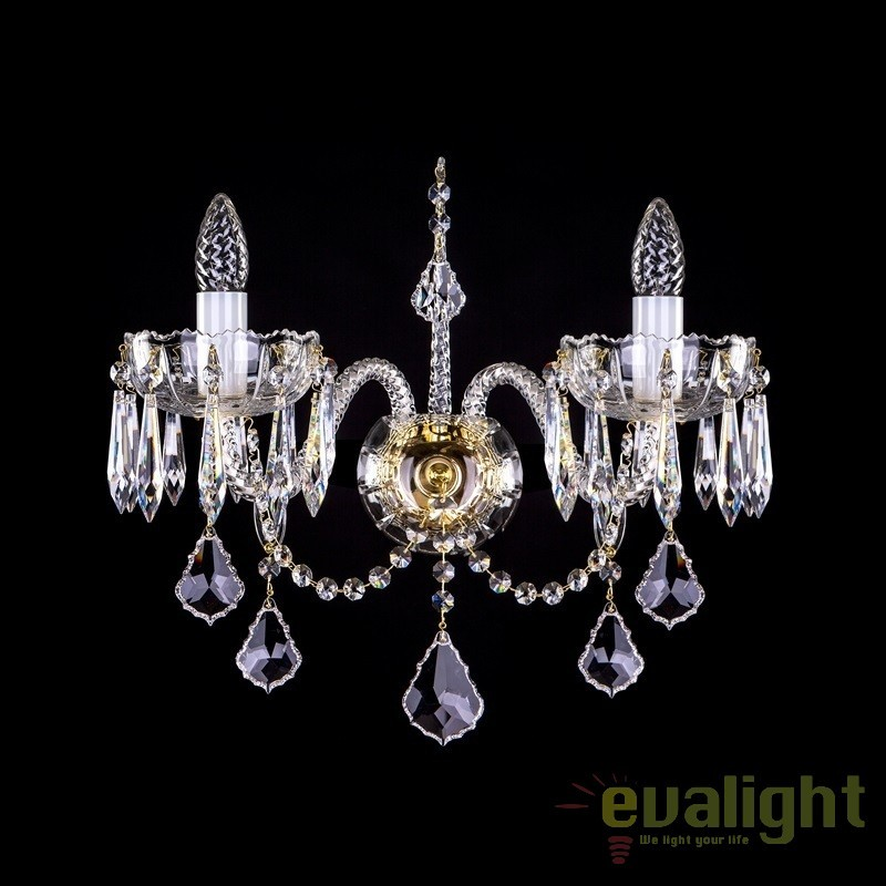 Aplica de perete eleganta cu 2 brate cristal Swarovski Spectra MONIQUE II. SP, Aplice Cristal Bohemia, Corpuri de iluminat, lustre, aplice, veioze, lampadare, plafoniere. Mobilier si decoratiuni, oglinzi, scaune, fotolii. Oferte speciale iluminat interior si exterior. Livram in toata tara.  a