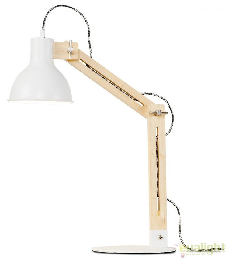 Lampa de masa moderna cu brat din lemn Melbourne alb MELBOURNE/T/W, Magazin,  a