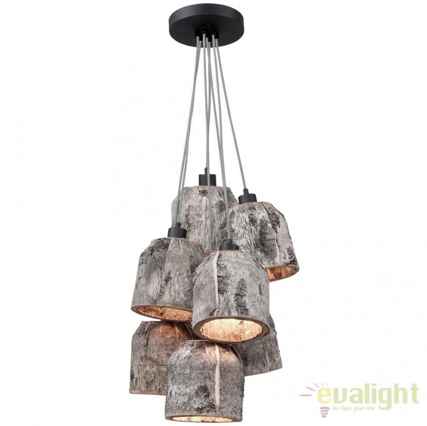 Lustra cu 7 pendule design rustic din lemn ASPEN ASPEN24/H7/N, Cele mai vandute Corpuri de iluminat, lustre, aplice, veioze, lampadare, plafoniere. Mobilier si decoratiuni, oglinzi, scaune, fotolii. Oferte speciale iluminat interior si exterior. Livram in toata tara.  a