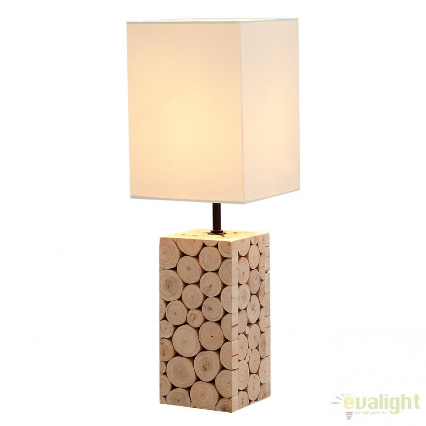 Lampa de masa din lemn masiv de eucalipt, Natural Mosaic A-36969 VC, PROMOTII, Corpuri de iluminat, lustre, aplice, veioze, lampadare, plafoniere. Mobilier si decoratiuni, oglinzi, scaune, fotolii. Oferte speciale iluminat interior si exterior. Livram in toata tara.  a