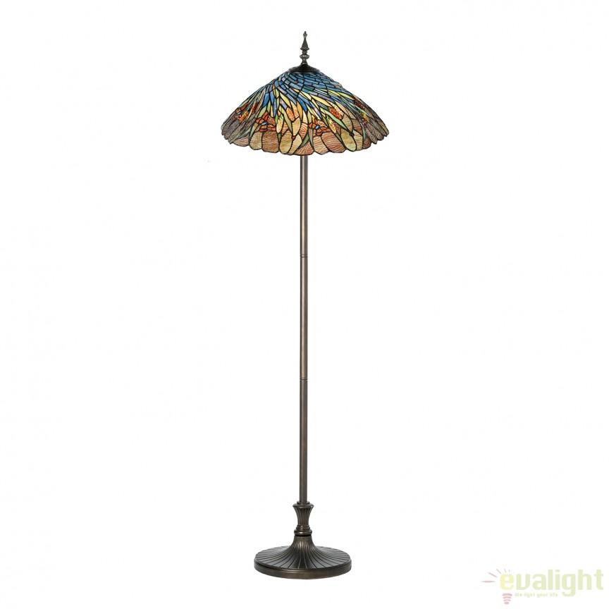 Lampadar / Lampa de podea cu sticla tiffany Juncos 945590 SU, Lampadare clasice, Corpuri de iluminat, lustre, aplice, veioze, lampadare, plafoniere. Mobilier si decoratiuni, oglinzi, scaune, fotolii. Oferte speciale iluminat interior si exterior. Livram in toata tara.  a