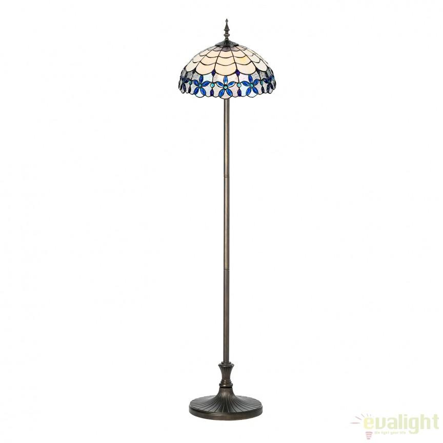 Lampadar / Lampa de podea cu sticla tiffany BLUE 945690 SU, Lampadare clasice, Corpuri de iluminat, lustre, aplice, veioze, lampadare, plafoniere. Mobilier si decoratiuni, oglinzi, scaune, fotolii. Oferte speciale iluminat interior si exterior. Livram in toata tara.  a