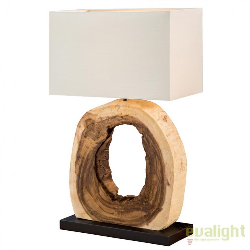 Veioza design rustic din lemn de tec Treibholz Cycle A-36972 VC, Veioze, Corpuri de iluminat, lustre, aplice, veioze, lampadare, plafoniere. Mobilier si decoratiuni, oglinzi, scaune, fotolii. Oferte speciale iluminat interior si exterior. Livram in toata tara.  a