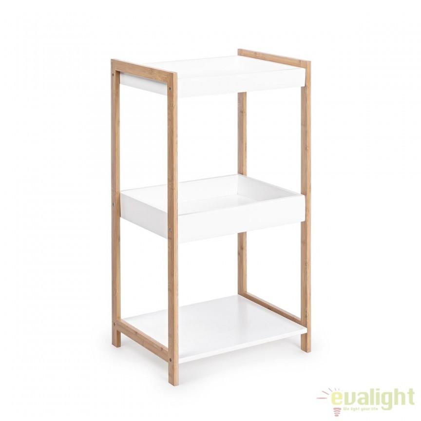 Raft design modern din lemn de bambus si MDF 3 etajere L: 40cm BROOKLYN 5730401 BZ, Vitrine - Rafturi, Corpuri de iluminat, lustre, aplice, veioze, lampadare, plafoniere. Mobilier si decoratiuni, oglinzi, scaune, fotolii. Oferte speciale iluminat interior si exterior. Livram in toata tara.  a