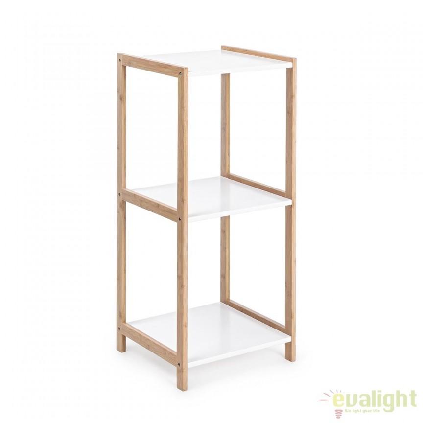 Raft design modern din lemn de bambus si MDF 3 etajere L: 32cm BROOKLYN 5730403 BZ, Vitrine - Rafturi, Corpuri de iluminat, lustre, aplice, veioze, lampadare, plafoniere. Mobilier si decoratiuni, oglinzi, scaune, fotolii. Oferte speciale iluminat interior si exterior. Livram in toata tara.  a