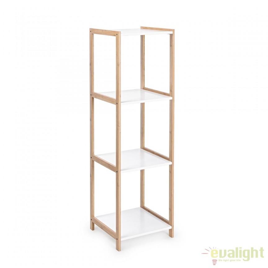 Raft design modern din lemn de bambus si MDF 4 etajere L: 32cm BROOKLYN 5730404 BZ, Vitrine - Rafturi, Corpuri de iluminat, lustre, aplice, veioze, lampadare, plafoniere. Mobilier si decoratiuni, oglinzi, scaune, fotolii. Oferte speciale iluminat interior si exterior. Livram in toata tara.  a