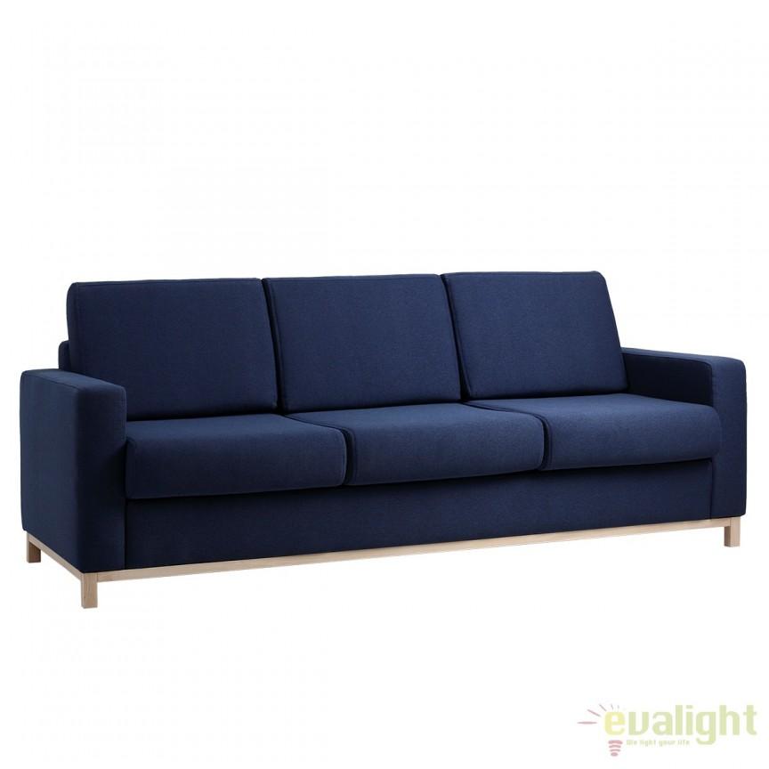 Canapea cu 3 locuri extensibila, moderna si confortabila Scandic albastru inchis/ natur, Cele mai noi produse 2017 a
