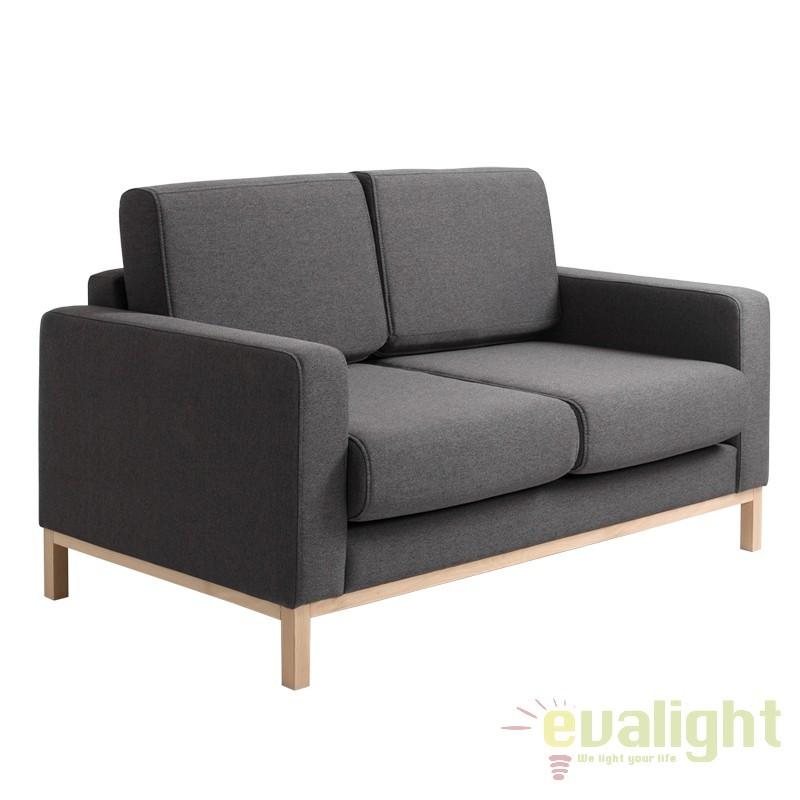 Canapea cu 2 locuri extensibila, moderna si confortabila Scandic gri inchis/ natur, Cele mai noi produse 2017 a