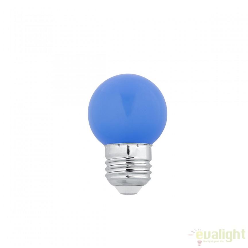 Bec LED E27 G45 BLUE 1W 17472 Faro Barcelona , BECURI ILUMINAT, Corpuri de iluminat, lustre, aplice, veioze, lampadare, plafoniere. Mobilier si decoratiuni, oglinzi, scaune, fotolii. Oferte speciale iluminat interior si exterior. Livram in toata tara.  a