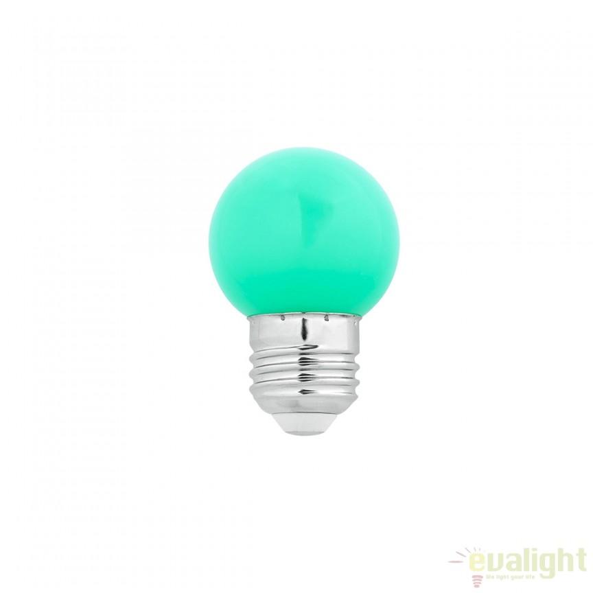 Bec LED E27 G45 verde 1W 17473 Faro Barcelona, BECURI ILUMINAT, Corpuri de iluminat, lustre, aplice, veioze, lampadare, plafoniere. Mobilier si decoratiuni, oglinzi, scaune, fotolii. Oferte speciale iluminat interior si exterior. Livram in toata tara.  a