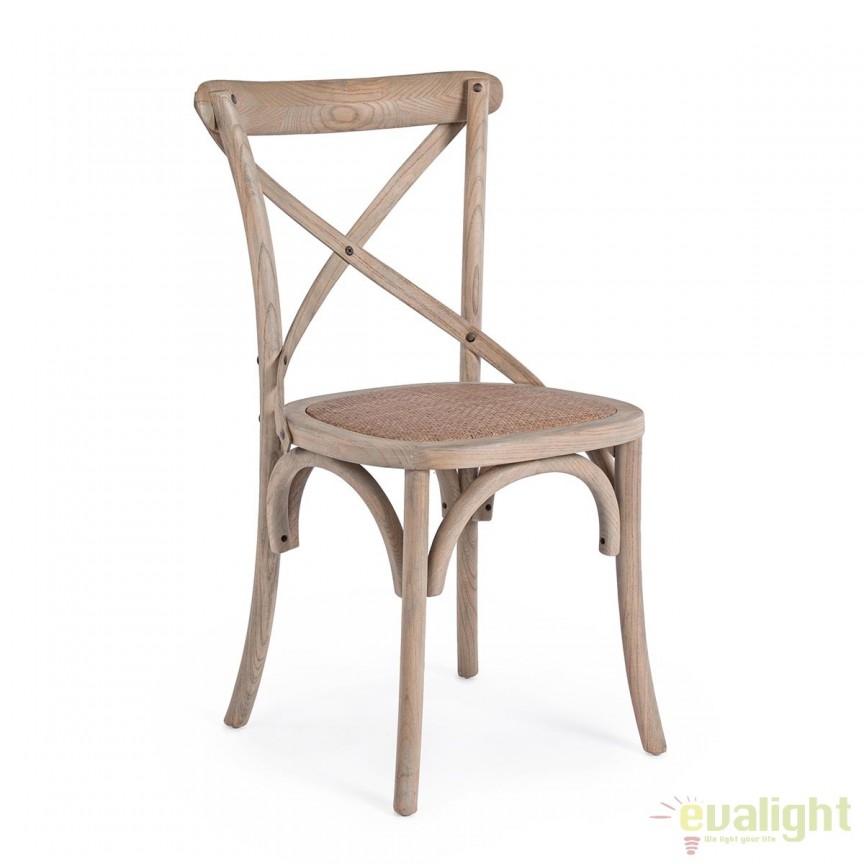 Scaun din lemn de ulm design vintage CROSS natur 0743221 BZ, Mobila si Decoratiuni,  a