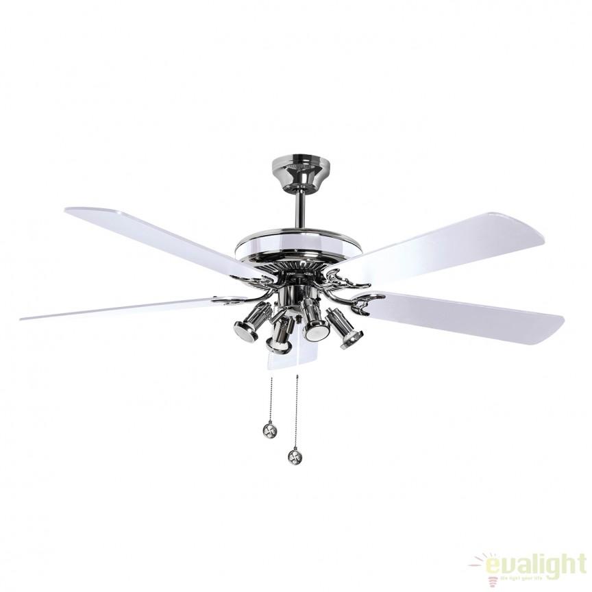 Lustra LED cu ventilator SPIKE 75128 SU, Lustra cu Ventilator, Corpuri de iluminat, lustre, aplice, veioze, lampadare, plafoniere. Mobilier si decoratiuni, oglinzi, scaune, fotolii. Oferte speciale iluminat interior si exterior. Livram in toata tara.  a