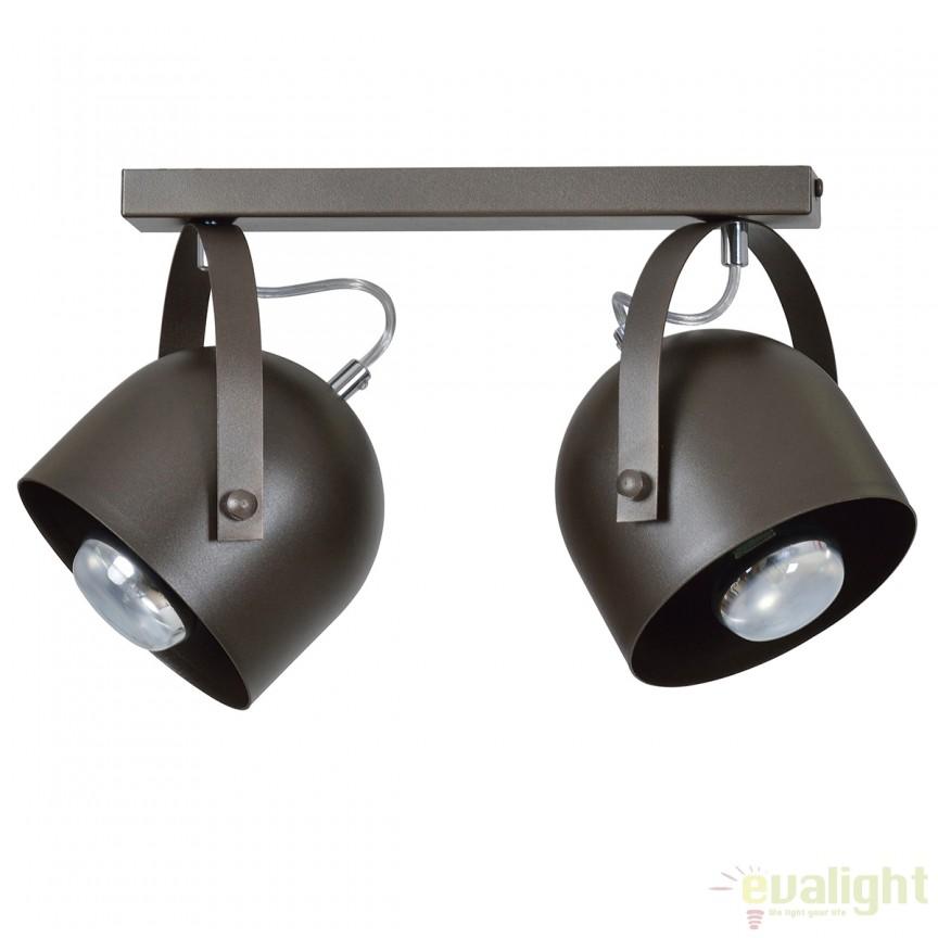 Plafoniera moderna cu 2 Spoturi directionabile DOBSON wenge 771/2 EMB, Spoturi - iluminat - cu 2 spoturi, Corpuri de iluminat, lustre, aplice, veioze, lampadare, plafoniere. Mobilier si decoratiuni, oglinzi, scaune, fotolii. Oferte speciale iluminat interior si exterior. Livram in toata tara.  a