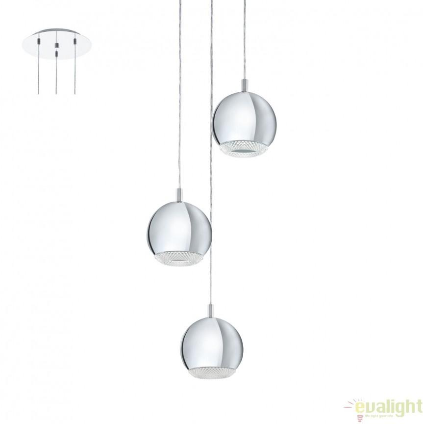 Lustra cu 3 pendule design elegant GU10-LED, diametru 29cm, CONESSA 95913 EL, Candelabre si Lustre moderne elegante⭐ modele clasice de lux pentru living, bucatarie si dormitor.✅ DeSiGn actual Top 2020!❤️Promotii lampi❗ ➽ www.evalight.ro. Oferte corpuri de iluminat suspendate pt camere de interior (înalte), suspensii (lungi) de tip lustre si candelabre, pendule decorative stil modern, clasic, rustic, baroc, scandinav, retro sau vintage, aplicate pe perete sau de tavan, cu cristale, abajur din material textil, lemn, metal, sticla, bec Edison sau LED, ieftine de calitate deosebita la cel mai bun pret. a