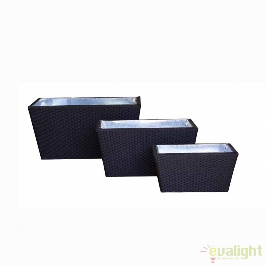 Set de 3 ghivece negre de exterior design elegant CABANA 0661112 BZ, Vaze, Ghivece decorative, Corpuri de iluminat, lustre, aplice, veioze, lampadare, plafoniere. Mobilier si decoratiuni, oglinzi, scaune, fotolii. Oferte speciale iluminat interior si exterior. Livram in toata tara.  a
