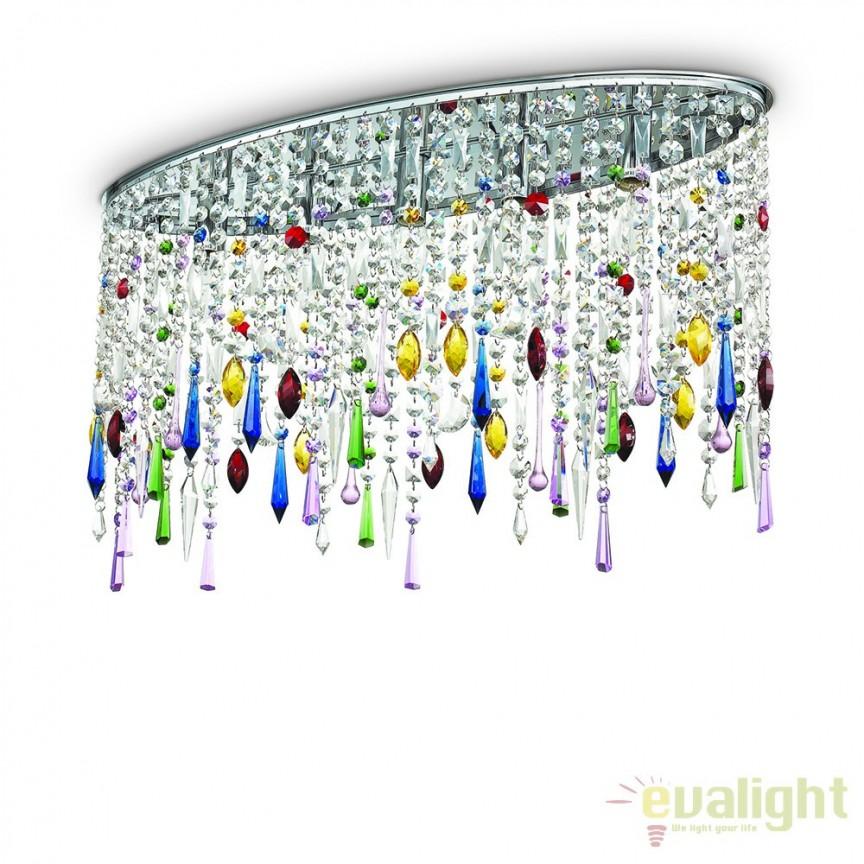 Plafoniera eleganta cu cristal Venezian RAIN COLOR PL5 105239, LUSTRE CRISTAL, Corpuri de iluminat, lustre, aplice, veioze, lampadare, plafoniere. Mobilier si decoratiuni, oglinzi, scaune, fotolii. Oferte speciale iluminat interior si exterior. Livram in toata tara.  a