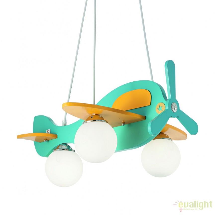 lustra pentru camera copii avion 1 sp3 azzurro 136325 corpuri de iluminat lustre aplice. Black Bedroom Furniture Sets. Home Design Ideas