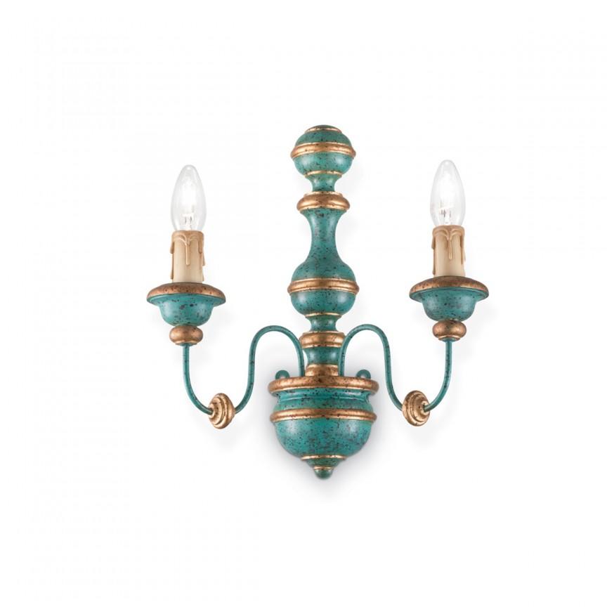 Aplica de perete design rustic PISA AP2 blue 093581, Aplice de perete, Corpuri de iluminat, lustre, aplice, veioze, lampadare, plafoniere. Mobilier si decoratiuni, oglinzi, scaune, fotolii. Oferte speciale iluminat interior si exterior. Livram in toata tara.  a