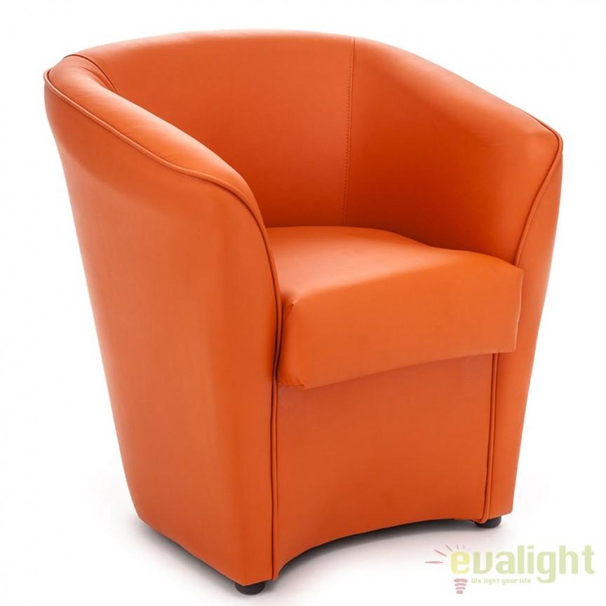 Fotoliu modern, confortabil cu tapiterie din piele sintetica VANESSA ORANGE 1104 FTP, Fotolii - Fotolii extensibile, Corpuri de iluminat, lustre, aplice, veioze, lampadare, plafoniere. Mobilier si decoratiuni, oglinzi, scaune, fotolii. Oferte speciale iluminat interior si exterior. Livram in toata tara.  a