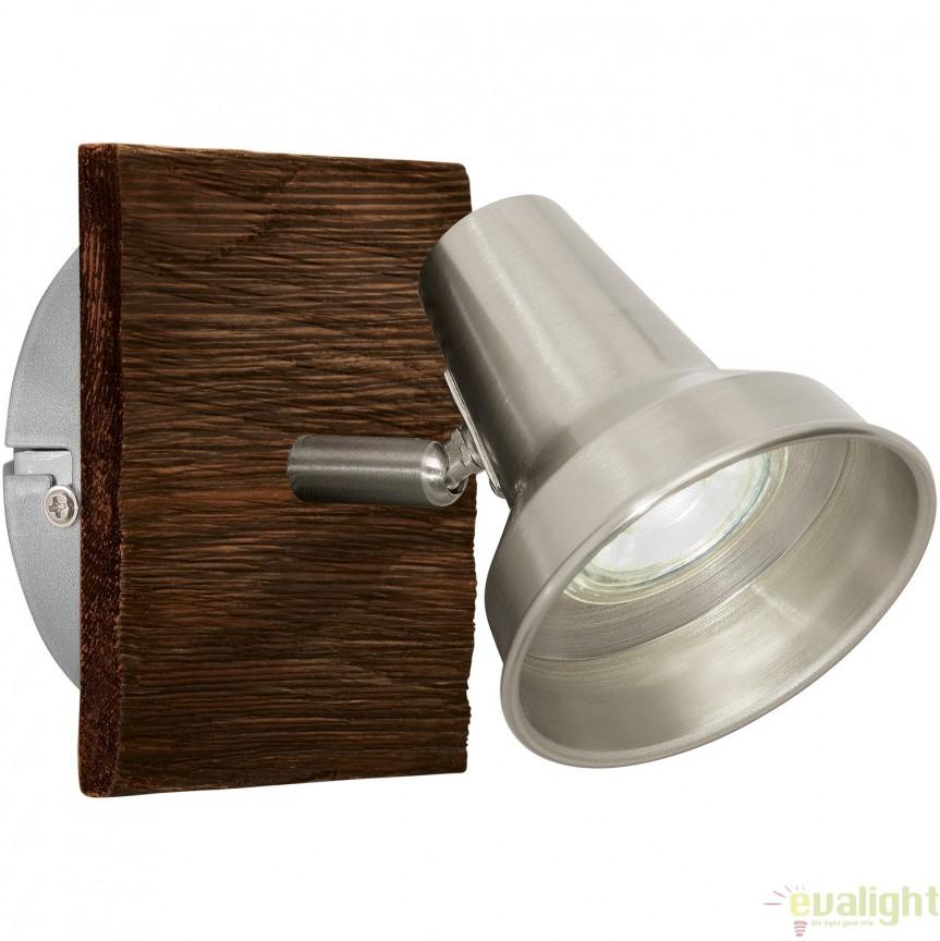 Aplica de perete, Spot cu iluminat GU10-LED, finisaj maro/nickel, FILIPINA 95646 EL, Spoturi - iluminat - cu 1 spot, Corpuri de iluminat, lustre, aplice, veioze, lampadare, plafoniere. Mobilier si decoratiuni, oglinzi, scaune, fotolii. Oferte speciale iluminat interior si exterior. Livram in toata tara.  a