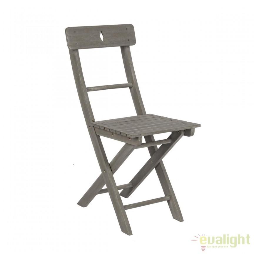 Set de 2 scaune gri de exterior din lemn de salcam BALCONY 0805800 BZ, Mobilier terasa si gradina, Corpuri de iluminat, lustre, aplice, veioze, lampadare, plafoniere. Mobilier si decoratiuni, oglinzi, scaune, fotolii. Oferte speciale iluminat interior si exterior. Livram in toata tara.  a