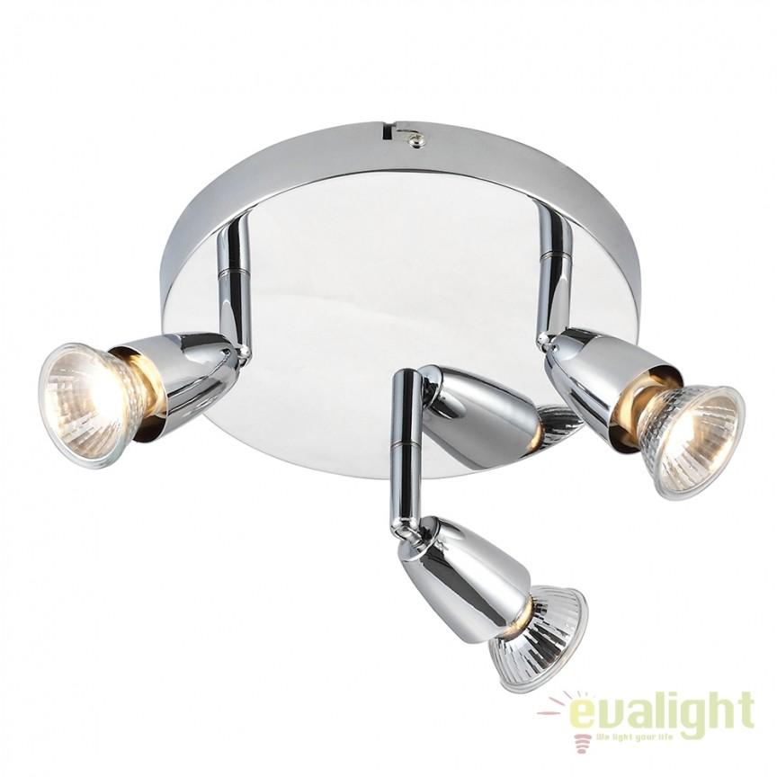 Plafoniera cu 3 spoturi directionabile Amalfi crom 43279 EN, Spoturi - iluminat - cu 3 spoturi, Corpuri de iluminat, lustre, aplice, veioze, lampadare, plafoniere. Mobilier si decoratiuni, oglinzi, scaune, fotolii. Oferte speciale iluminat interior si exterior. Livram in toata tara.  a