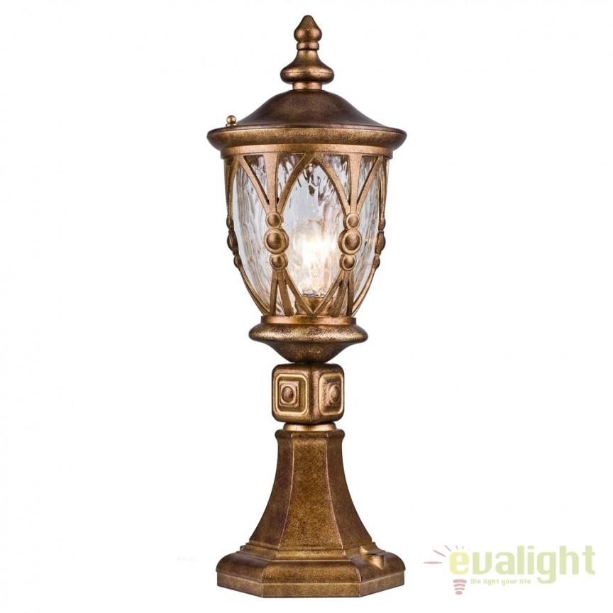 Stalp de iluminat exterior cu protectie IP44 Rua Augusta auriu antic H56 MYS103-59-31-R, Stalpi de iluminat exterior mici si medii , Corpuri de iluminat, lustre, aplice, veioze, lampadare, plafoniere. Mobilier si decoratiuni, oglinzi, scaune, fotolii. Oferte speciale iluminat interior si exterior. Livram in toata tara.  a