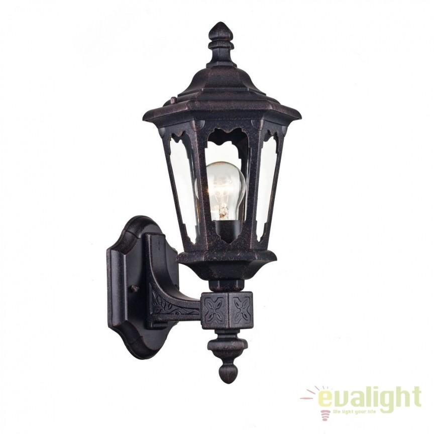 Aplica de perete pentru exterior cu protectie IP44 Oxford Up neagra MYS101-42-11-B, Aplice de exterior clasice, rustice, traditionale, Corpuri de iluminat, lustre, aplice, veioze, lampadare, plafoniere. Mobilier si decoratiuni, oglinzi, scaune, fotolii. Oferte speciale iluminat interior si exterior. Livram in toata tara.  a