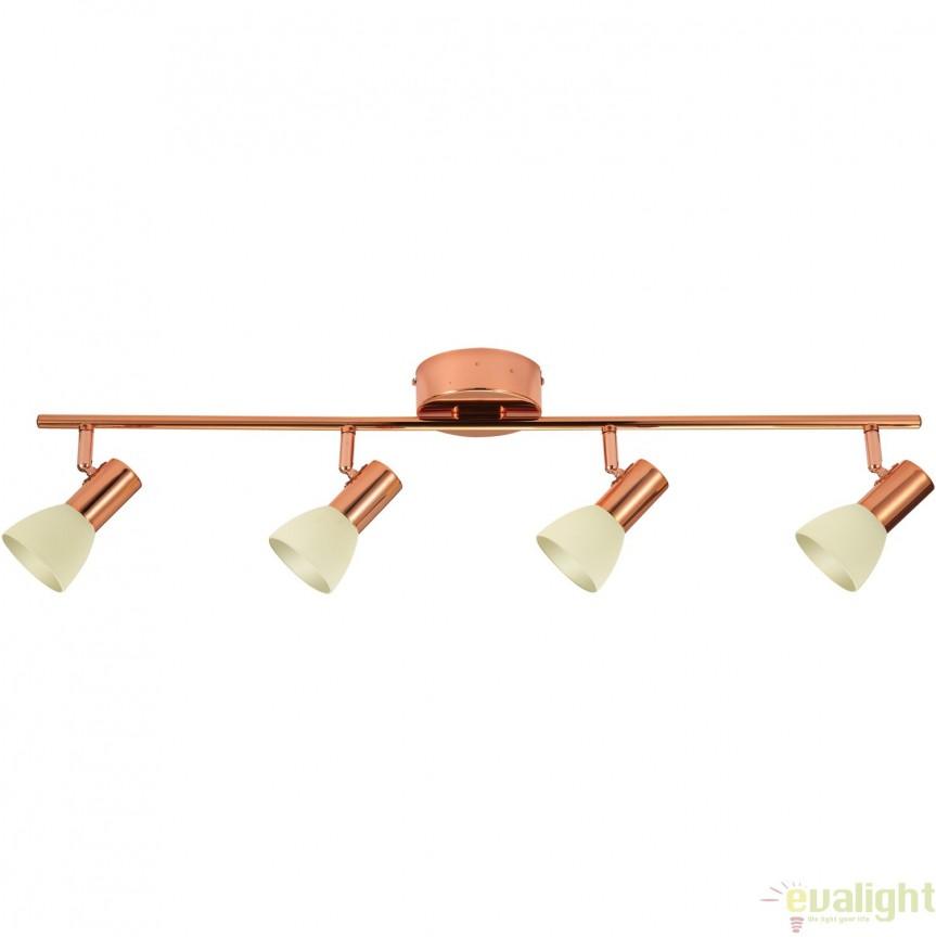 Lustra moderna cu 4 spoturi LED, finisaj cupru, L-76cm, GLOSSY 2 94739 EL, PROMOTII,  a