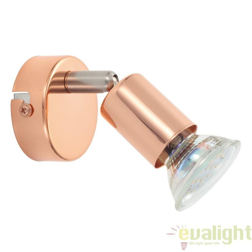 Aplica de perete, Spot cu iluminat GU10-LED, finisaj cupru, diametru 6cm, BUZZ-COPPER 94772 EL, Spoturi - iluminat - cu 1 spot, Corpuri de iluminat, lustre, aplice, veioze, lampadare, plafoniere. Mobilier si decoratiuni, oglinzi, scaune, fotolii. Oferte speciale iluminat interior si exterior. Livram in toata tara.  a