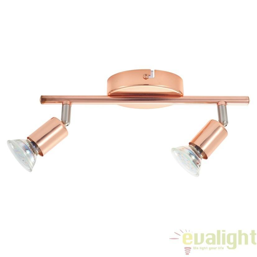 Lustra moderna cu 2 spoturi GU10-LED, finisaj cupru, L-28,5cm, BUZZ-COPPER 94773 EL, Spoturi - iluminat - cu 2 spoturi, Corpuri de iluminat, lustre, aplice, veioze, lampadare, plafoniere. Mobilier si decoratiuni, oglinzi, scaune, fotolii. Oferte speciale iluminat interior si exterior. Livram in toata tara.  a