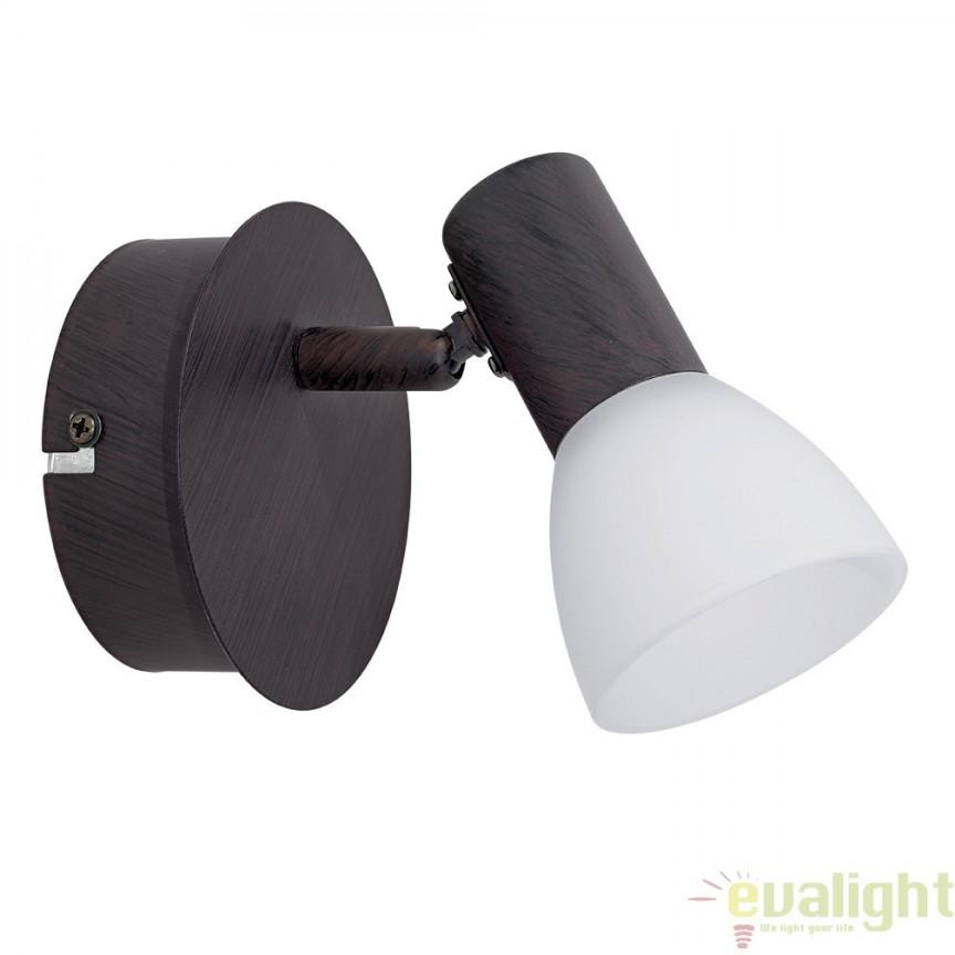 Aplica de perete, Spot cu iluminat LED, finisaj maro, diametru 12,5cm, DAKAR 5 94151 EL, Spoturi - iluminat - cu 1 spot, Corpuri de iluminat, lustre, aplice, veioze, lampadare, plafoniere. Mobilier si decoratiuni, oglinzi, scaune, fotolii. Oferte speciale iluminat interior si exterior. Livram in toata tara.  a