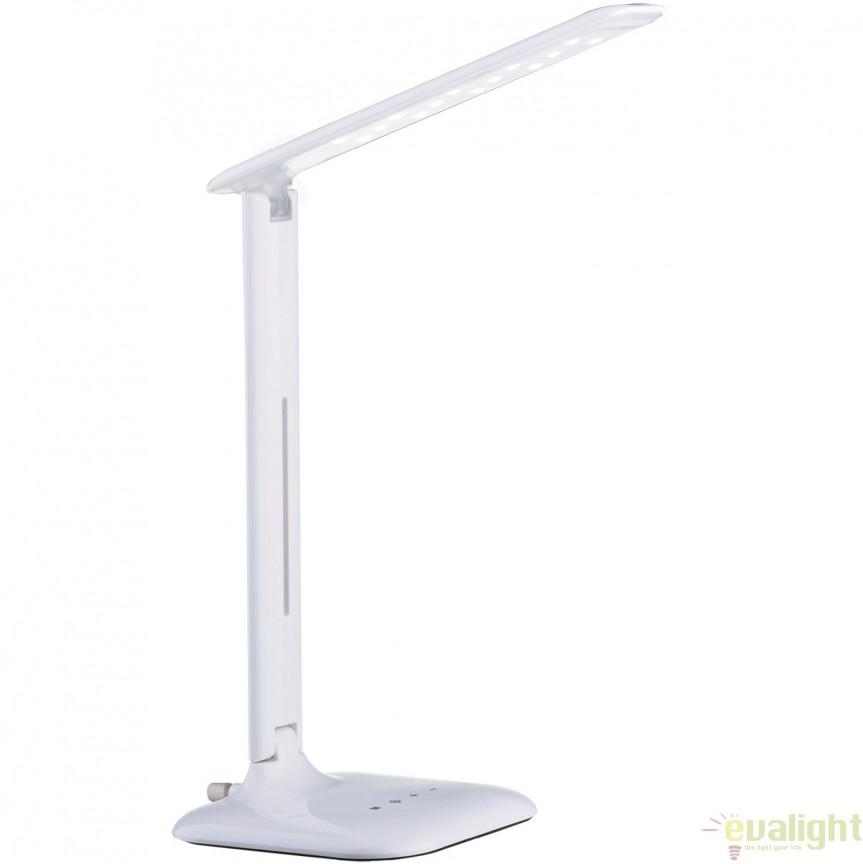 Veioza, lampa de masa cu touch dimmer LED, finisaj alb, CAUPO 93965 EL, Veioze LED, Lampadare LED, Corpuri de iluminat, lustre, aplice, veioze, lampadare, plafoniere. Mobilier si decoratiuni, oglinzi, scaune, fotolii. Oferte speciale iluminat interior si exterior. Livram in toata tara.  a