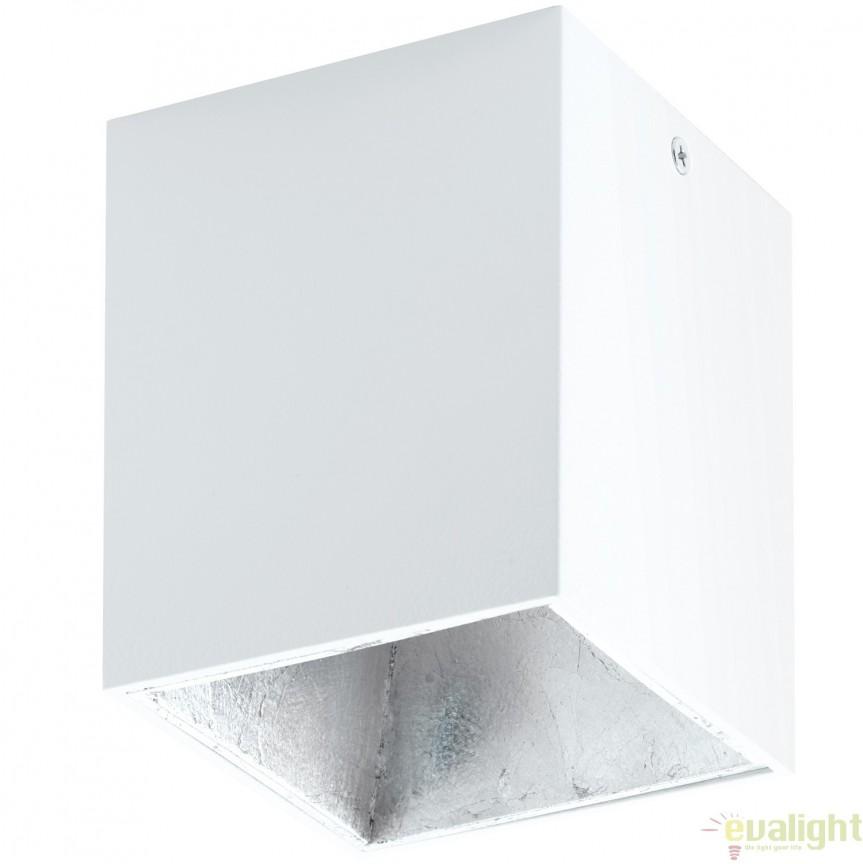 Plafoniera, Spot aplicat LED, finsaj alb/argintiu, 10x10cm, POLASSO 94499 EL, Plafoniere LED, Spoturi LED, Corpuri de iluminat, lustre, aplice, veioze, lampadare, plafoniere. Mobilier si decoratiuni, oglinzi, scaune, fotolii. Oferte speciale iluminat interior si exterior. Livram in toata tara.  a