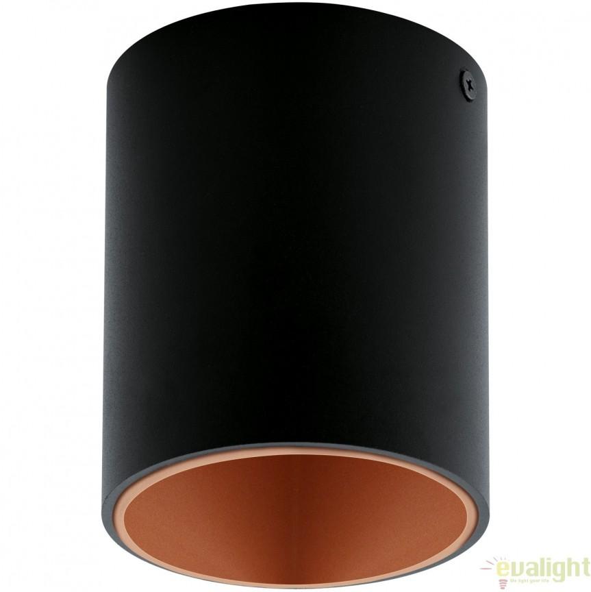 Plafoniera, Spot aplicat LED, finsaj negru/cupru, diametru 10cm, POLASSO 94501 EL, Plafoniere LED, Spoturi LED, Corpuri de iluminat, lustre, aplice, veioze, lampadare, plafoniere. Mobilier si decoratiuni, oglinzi, scaune, fotolii. Oferte speciale iluminat interior si exterior. Livram in toata tara.  a