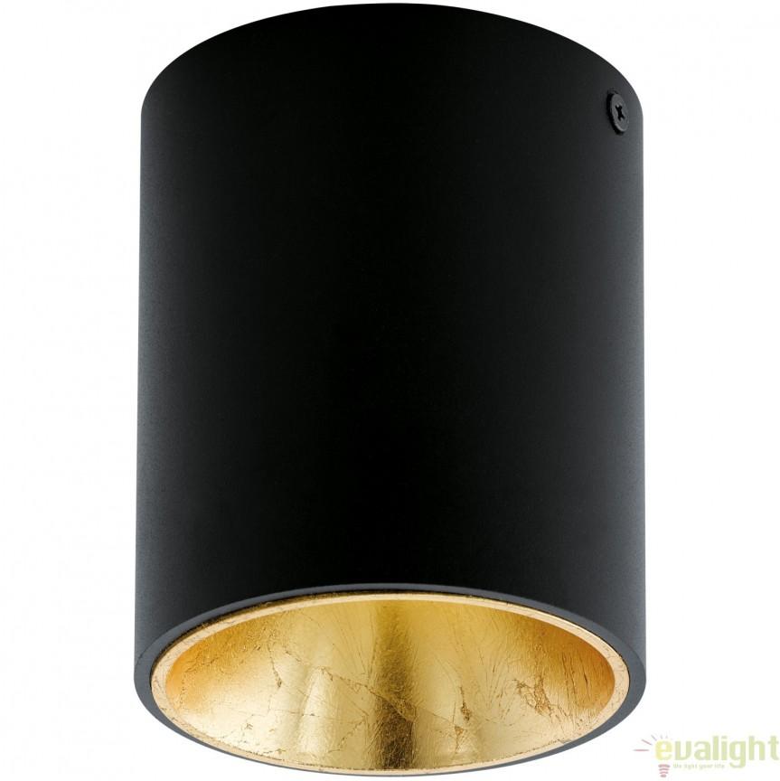 Plafoniera, Spot aplicat LED, finsaj negru/auriu, diametru 10cm, POLASSO 94502 EL, Plafoniere LED, Spoturi LED, Corpuri de iluminat, lustre, aplice, veioze, lampadare, plafoniere. Mobilier si decoratiuni, oglinzi, scaune, fotolii. Oferte speciale iluminat interior si exterior. Livram in toata tara.  a
