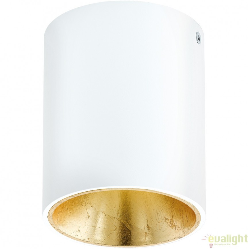 Plafoniera, Spot aplicat LED, finsaj alb/auriu, diametru 10cm, POLASSO 94503 EL, Plafoniere LED, Spoturi LED, Corpuri de iluminat, lustre, aplice, veioze, lampadare, plafoniere. Mobilier si decoratiuni, oglinzi, scaune, fotolii. Oferte speciale iluminat interior si exterior. Livram in toata tara.  a
