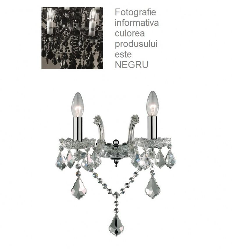 Aplica 2 brate cristal Venezian FLORIAN AP2 NERO 152059 , Aplice de perete moderne, Corpuri de iluminat, lustre, aplice, veioze, lampadare, plafoniere. Mobilier si decoratiuni, oglinzi, scaune, fotolii. Oferte speciale iluminat interior si exterior. Livram in toata tara.  a