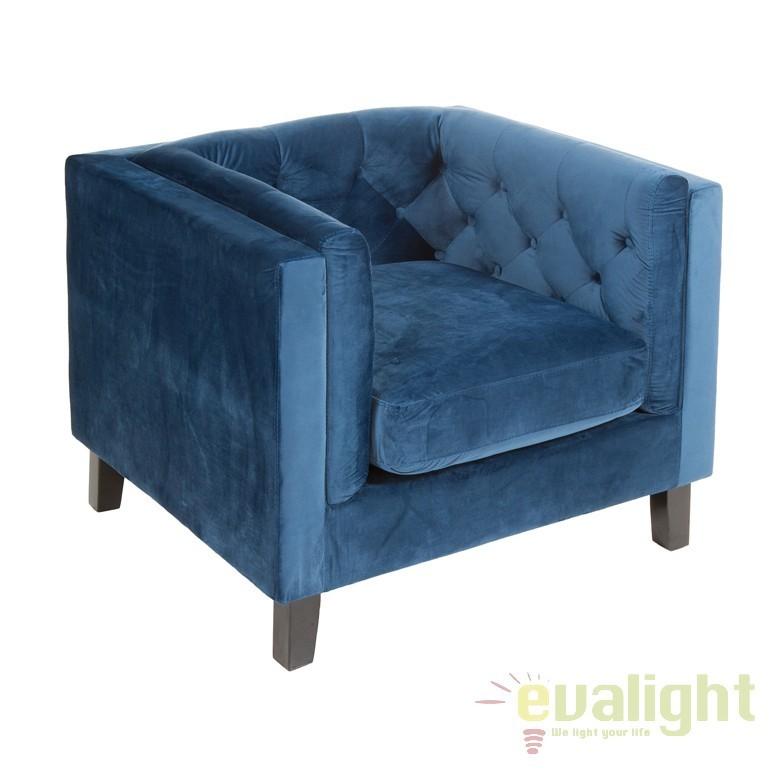 Fotoliu elegant stil clasic Patmos albastru 51768 SAP, Fotolii - Fotolii extensibile, Corpuri de iluminat, lustre, aplice, veioze, lampadare, plafoniere. Mobilier si decoratiuni, oglinzi, scaune, fotolii. Oferte speciale iluminat interior si exterior. Livram in toata tara.  a