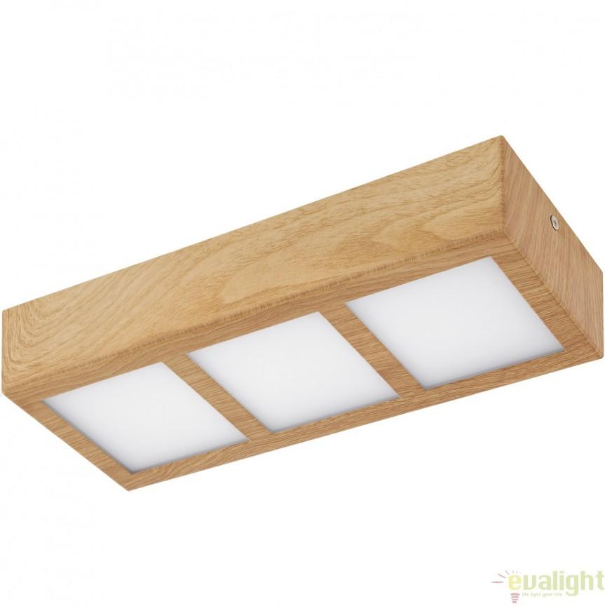 Plafoniera cu 3 spoturi LED, finsaj natur stejar, 31,5x11,5cm, COLEGIO 95197 EL, Plafoniere LED, Spoturi LED, Corpuri de iluminat, lustre, aplice, veioze, lampadare, plafoniere. Mobilier si decoratiuni, oglinzi, scaune, fotolii. Oferte speciale iluminat interior si exterior. Livram in toata tara.  a