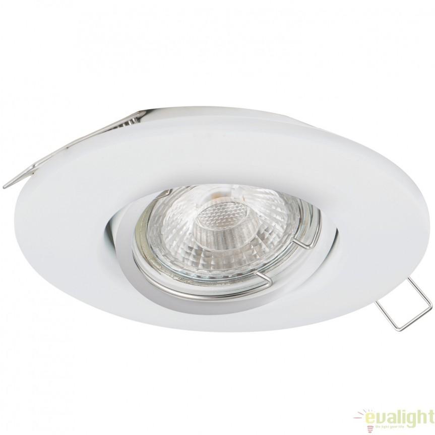 Spot incastrabil, directionabil cu iluminat GU10-LED, alb, diametru 10,8cm, PENETO 1 95894 EL, Spoturi LED incastrate, aplicate, Corpuri de iluminat, lustre, aplice, veioze, lampadare, plafoniere. Mobilier si decoratiuni, oglinzi, scaune, fotolii. Oferte speciale iluminat interior si exterior. Livram in toata tara.  a